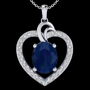 4 ctw Sapphire & VS/SI Diamond Designer Heart Necklace