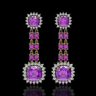18.96 ctw Amethyst & Diamond Earrings 14K Yellow Gold -