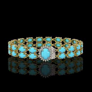 13.14 ctw Turquoise & Diamond Bracelet 14K Yellow Gold