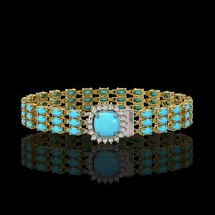 22.19 ctw Turquoise & Diamond Bracelet 14K Yellow Gold