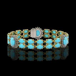 14.58 ctw Turquoise & Diamond Bracelet 14K Yellow Gold