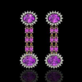 8.19 ctw Amethyst & Diamond Earrings 14K Yellow Gold -