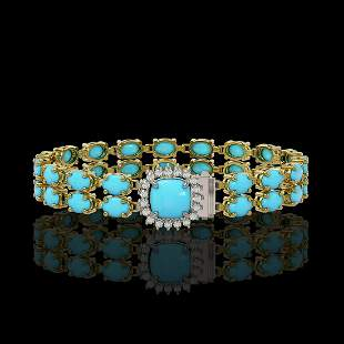 13.37 ctw Turquoise & Diamond Bracelet 14K Yellow Gold