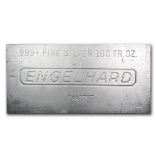One piece 100 oz 0.999 Fine Silver Bar Engelhard -
