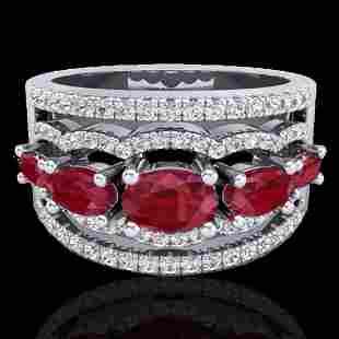 2.25 ctw Ruby & Micro Pave VS/SI Diamond Designer Ring