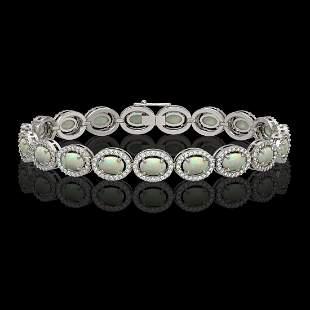 9.5 ctw Opal & Diamond Micro Pave Halo Bracelet 10k