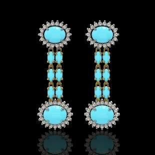7.39 ctw Turquoise & Diamond Earrings 14K Yellow Gold -