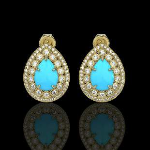 7.54 ctw Turquoise & Diamond Victorian Earrings 14K