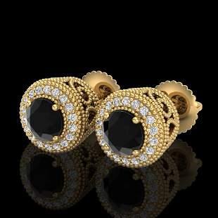 1.55 ctw Fancy Black Diamond Art Deco Stud Earrings 18k