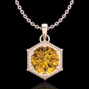 0.82 ctw Intense Fancy Yellow Diamond Art Deco Necklace