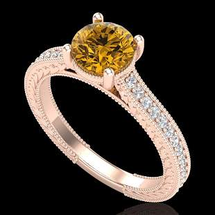 1.45 ctw Intense Fancy Yellow Diamond Art Deco Ring 18k