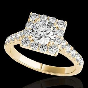 2 ctw Certified Diamond Solitaire Halo Ring 10k Yellow