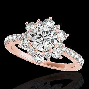 2 ctw Certified Diamond Solitaire Halo Ring 10k Rose
