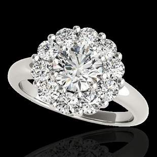 2.09 ctw Certified Diamond Solitaire Halo Ring 10k