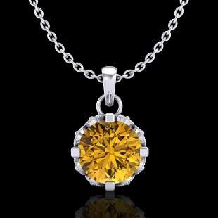 0.85 ctw Intense Fancy Yellow Diamond Art Deco Necklace