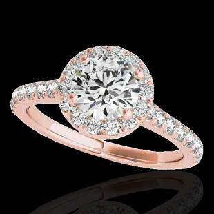 1.70 ctw Certified Diamond Solitaire Halo Ring 10k Rose