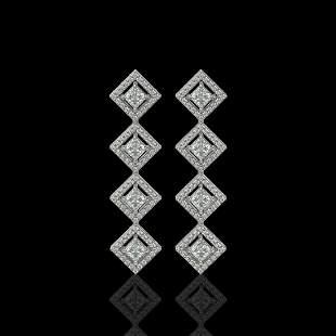 4.01 ctw Princess Cut Diamond Micro Pave Earrings 18K
