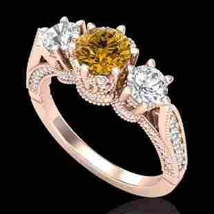 2.18 ctw Intense Fancy Yellow Diamond Art Deco Ring 18k