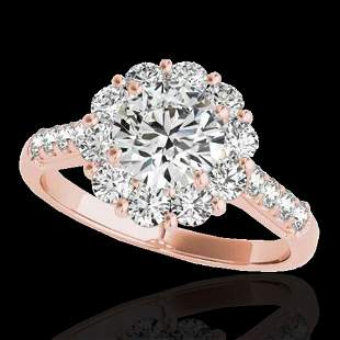 2.75 ctw Certified Diamond Solitaire Halo Ring 10k Rose