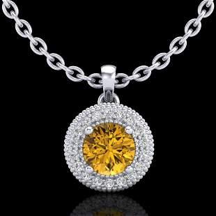 1 ctw Intense Fancy Yellow Diamond Art Deco Necklace