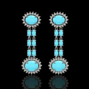 7.39 ctw Turquoise & Diamond Earrings 14K White Gold -