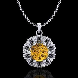1.2 ctw Intense Fancy Yellow Diamond Art Deco Necklace