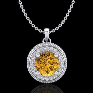 1.25 ctw Intense Fancy Yellow Diamond Art Deco Necklace