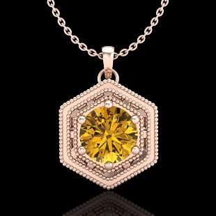 0.76 ctw Intense Fancy Yellow Diamond Art Deco Necklace