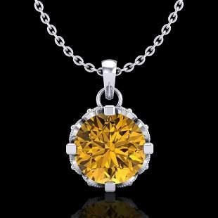 1.14 ctw Intense Fancy Yellow Diamond Art Deco Necklace