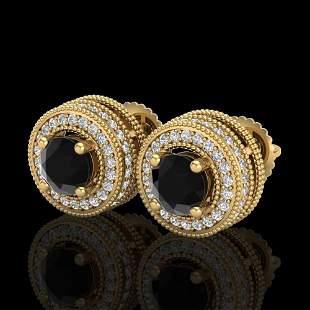 2.09 ctw Fancy Black Diamond Art Deco Stud Earrings 18k
