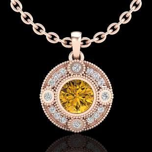 1.01 ctw Intense Fancy Yellow Diamond Art Deco Necklace