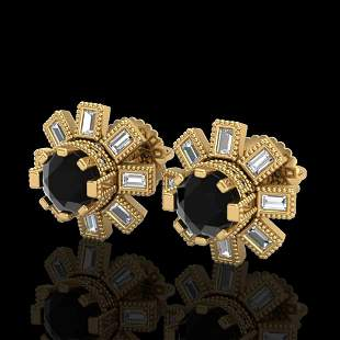 1.77 ctw Fancy Black Diamond Art Deco Stud Earrings 18k