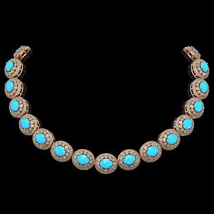 86.75 ctw Turquoise & Diamond Victorian Necklace 14K