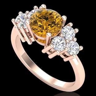 2.1 ctw Intense Fancy Yellow Diamond Ring 18k Rose Gold