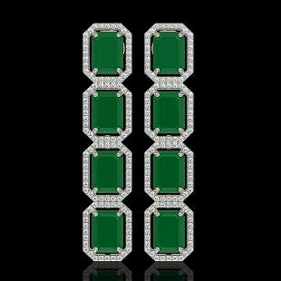 20.59 ctw Emerald & Diamond Micro Pave Halo Earrings