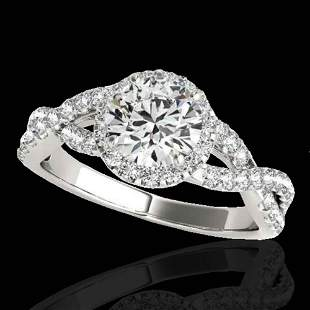1.54 ctw Certified Diamond Solitaire Halo Ring 10k