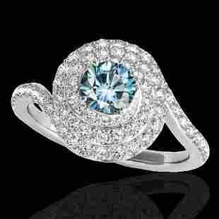 1.86 ctw SI Certified Fancy Blue Diamond Halo Ring 10k