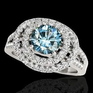1.75 ctw SI Certified Fancy Blue Diamond Halo Ring 10k