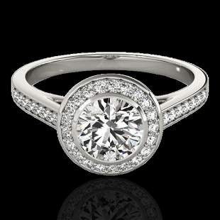 1.3 ctw Certified Diamond Solitaire Halo Ring 10k White