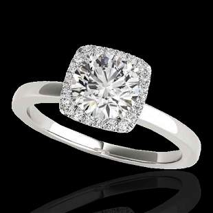 1.15 ctw Certified Diamond Solitaire Halo Ring 10k