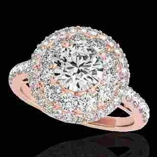 2.09 ctw Certified Diamond Solitaire Halo Ring 10k Rose