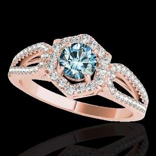 1.43 ctw SI Certified Fancy Blue Diamond Halo Ring 10k