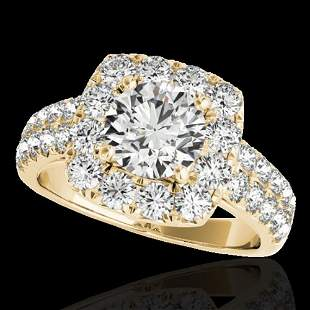 2.5 ctw Certified Diamond Solitaire Halo Ring 10k