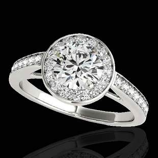 1.45 ctw Certified Diamond Solitaire Halo Ring 10k