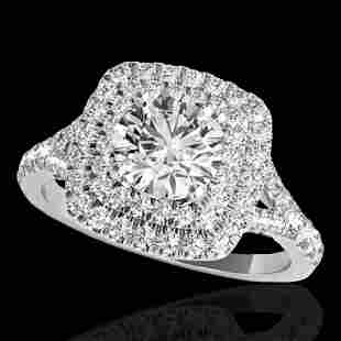 1.6 ctw Certified Diamond Solitaire Halo Ring 10k White