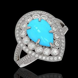 4.02 ctw Turquoise & Diamond Victorian Ring 14K White