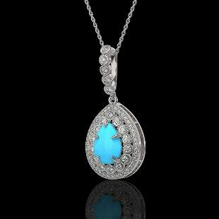 3.97 ctw Turquoise & Diamond Victorian Necklace 14K