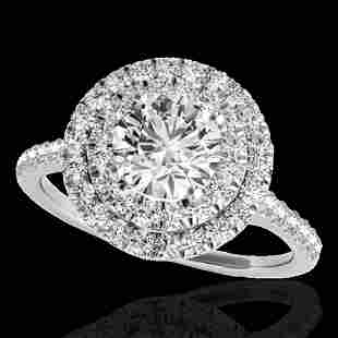 1.5 ctw Certified Diamond Solitaire Halo Ring 10k White