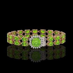 17.4 ctw Peridot & Diamond Bracelet 14K Rose Gold -