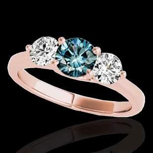 3 ctw SI Certified Fancy Blue Diamond 3 Stone Ring 10k
